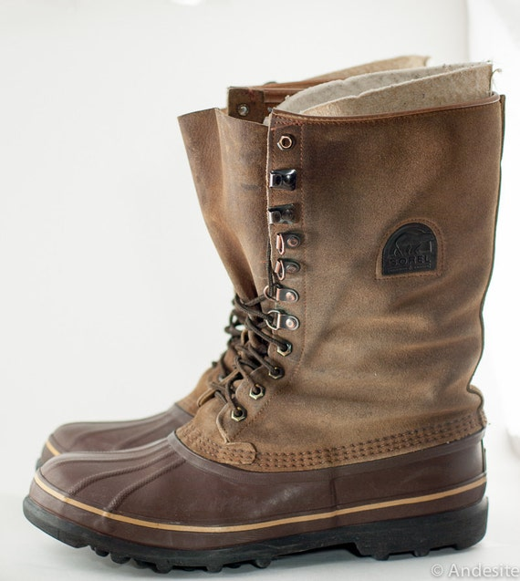 SALE Vintage Sorel Boots Duck Boots Winter Boots Brown Mens