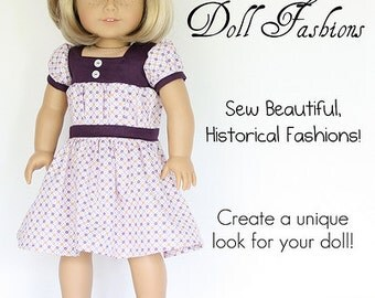 Pixie Faire Heritage 1930's Gathered Dress Doll Clothes Pattern for 18 inch American Girl Dolls - PDF