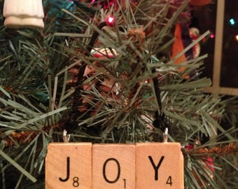 JOY Ornament, Words with Friends Ornament, Christmas Ornament, Choose Joy, Christmas Joy, Rustic Christmas