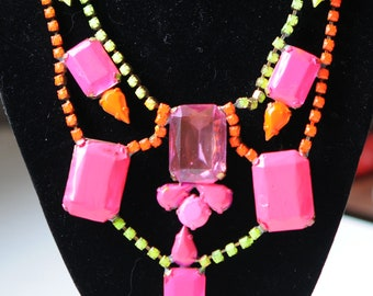 Caution - Not for the Shy -Funky, WIld Painted Rhinestone Necklace - Fun Fun Fun