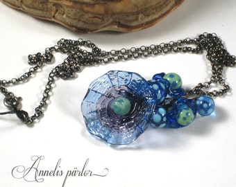 Lampwork beads, glass and sterling silver necklace, Handmade, Artisan.
