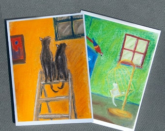 Colorful Cat notecards, set of 6