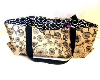Yoga bag, dance bag, Large bag, overnight bag, burlap Bicycle with Bold Black and White- gifts for her, mom gift, girlfriend gift, teen gift