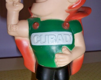 Rare 1975 Curad Taped Crusader Superhero Figurine and Bank with Original Stopper Good Used Condition