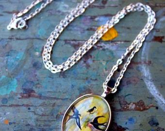 Flowing Birds Art Pendant - Wearable Art