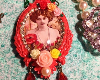 Victorian Ladies Collection- Poppies In Paris Coral Necklace (Made-to-Order)