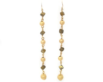 Long cover balls and Pyrite earrings