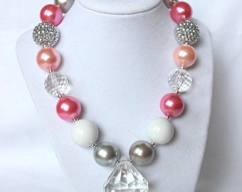 chunky bead necklace silver pink white bubblegum bead necklace chunky bubblegum necklace for girls birthday christmas