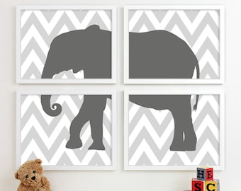 Childrens Art for Kids Wall Art, Jungle Baby Nursery Decor, Safari Animal Nursery Art, Elephant Chevron Nursery Wall Art