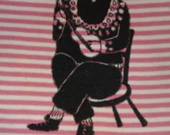 Hand screen printed patch of ukelele man