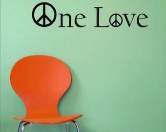 One Love Decal Bob Marley Peace