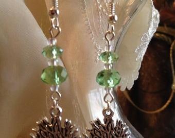 Green Crystal -  Tree of Life Earrings