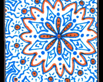 Blue And Orange Zendoodle ACEO