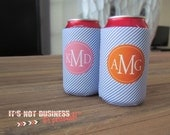 12oz Can Koozie- Small Diagonal Stripes Personalized Monogram