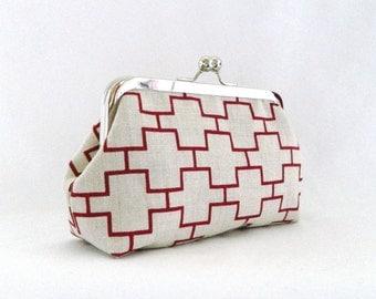 Geometric Clutch Purse, Clutch Bag, Bridesmaids gifts, Geometric Design Framed Clutch Purse