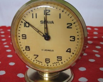 WORKING !!! Vintage Russian Mechanical Alarm Clock Slava from Soviet Union Period 11 Jewels Black, CCCP