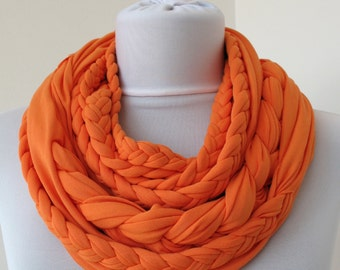 Orange Loop Scarf - Infinity Jersey Scarf - Partially braided Circle Scarf - Scarf Nekclace