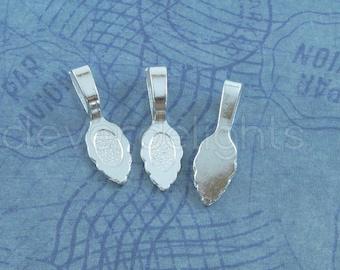100 Large Leaf Bails - 26x8mm - Shiny Silver Color - Large Glue On Bails - Scrabble Glass Pendants Scallop Edge Tibetan Bail - 1 x 5/16 inch