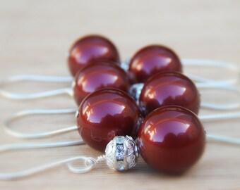 Wine bridesmaid earrings, burgundy pearl earrings, merlot dangle earrings, burgundy wedding jewelry
