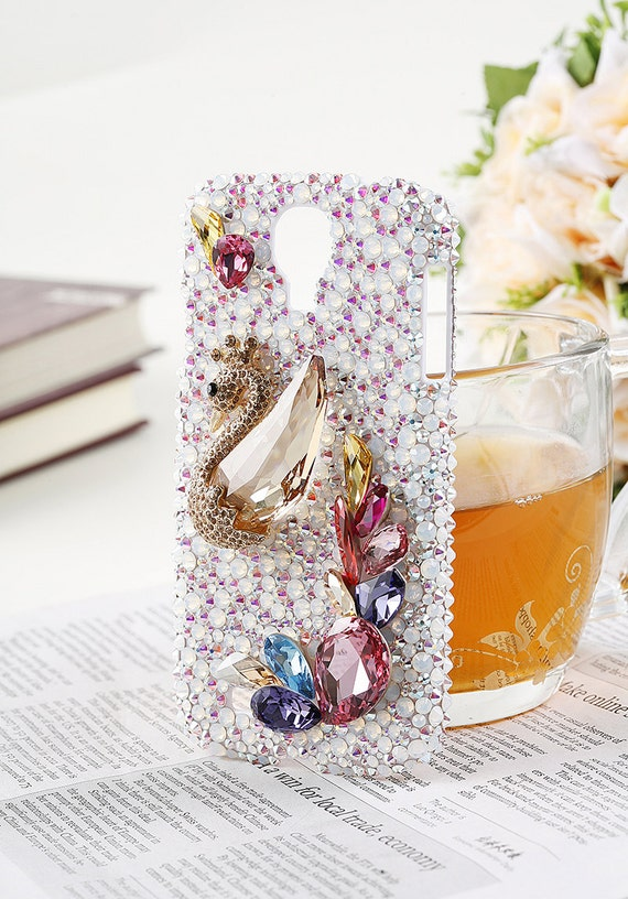 Gold Swan Lake swarovski elements crystal Iphone 5/4s/4 Samsung Galaxy ...