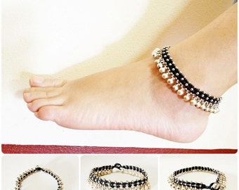 Silver Bells Anklet Waxed Cotton Cord Bohemian Adjustable Size, Wax String Anklet Handmade, Thailand Jewelry.  JA1002-SI