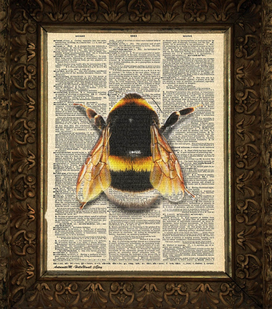 Bumble bee on antique dictionary page art print wall decor for Bumble bee mural