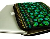 Embroidered Black Green Laptop Sleeve,  Rustic, Plush, Feather-weight Laptop Sleeve with Poly Silk lining