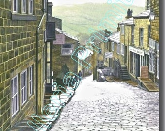 To the Hills Haworth / Evocative Watercolor by Contemp British Artist Stuart Hirst / Signed Giclée Print of Superb Watercolor Landscape