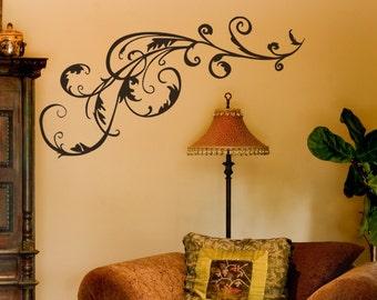 Swirl Vinyl Decal size MEDIUM - Swirl, Swirl Decal, Swirl Sticker, Swirl Wall Art, Flourish, Flourish wall art, Flourish Decal