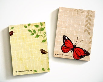 botanical GARDEN NOTEPADS tiny gifts, tiny notepads - monarch butterfly paper pad, tiny lunchbox notes, lunch notes