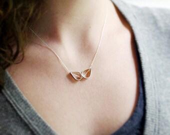 Silver Wings Necklace, Two Open Teardrops, Sterling Silver Necklace, Romantic Silver Necklace, Everyday Jewelry, Simple Sterling Slide