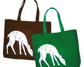 SALE Large Deer Screen Printed Tote Bag