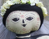 Skeleton Doll Day of the Dead Bust Primitive Folk Art Shelf Sitter