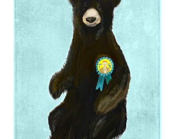 T.R. Bear ... not a teddy bear but a fan of Theodore Roosevelt ... giclee art print • president • presidential • history • humor • animal