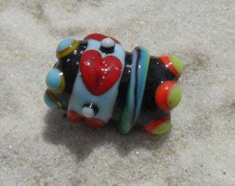 Lampwork Focal, Hearts Red-Blue-Black Artisan Handmade SRA Glassymom