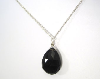 Stunning Christian Black Smokey Quartz Gemstone Dangle Necklace - Sterling Silver Chain - Light in the Darkness Collection