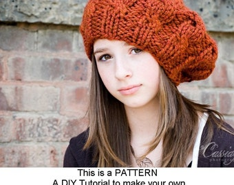 Instant Download Knitting Pattern - Womens Hat Pattern - Knit Hat Pattern Cable Beret Pattern - Womens Beret Pattern - Womens Accessories