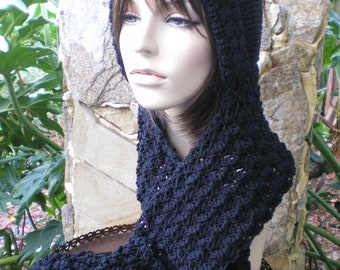 hand knit hood scarf hat crochet scarf winter hat womens accessories scoodie wool winter hat - attached scarf  - MADE TO ORDER - black