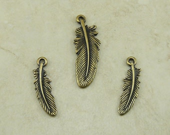 3 TierraCast Bird Feather Pendant and Charms Mix - Indian Eagle Hawk Crow - Brass Ox plated Lead Free Pewter - I ship Internationally