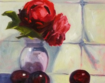 Still Life Oil Painting, Original, Red Rose, Fruit, Vase, Purple Plum, 12x12, Canvas, Kitchen Art,  Wall Decor,Contemporary,Modern