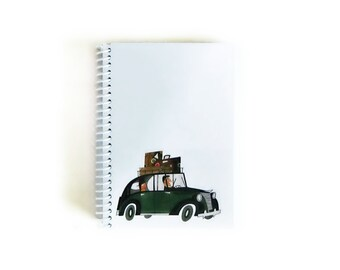 Rome Italy Taxi Cab Travel Writing Journal Spiral Bound, Back to School, Mid Century, 4x6 Inches, Gifts Under 20, Blank Sketchbook, Notebook