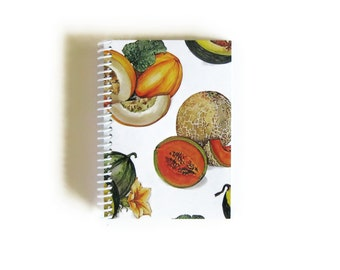 Melon Blank Recipe Book, A6 Notebook, Back to School, Blank Sketchbook, Small, Spiral Bound Journal, Paper, Pocket, Gifts Under 15, Writing