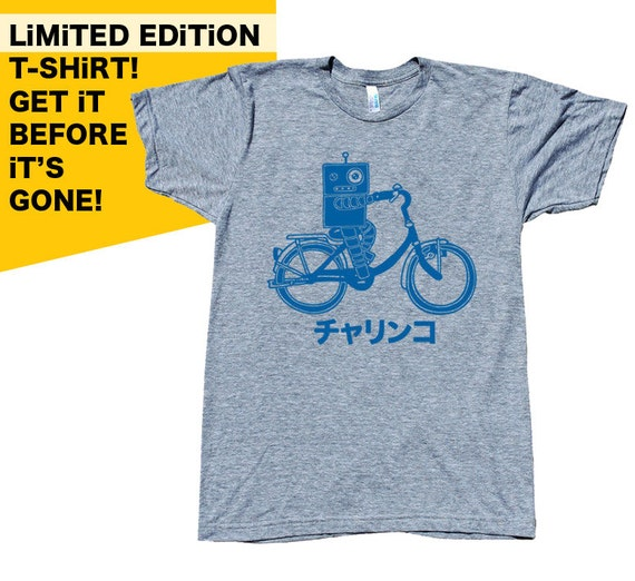 Japanese Bike Robot - Charinko - Unisex/Men Athletic Grey Tri-Blend Tshirt