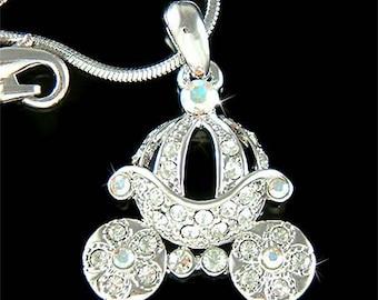 Cinderella Dream Wedding Swarovski Crystal Princess Pumpkin Carriage Pendant Necklace Christmas Best Friend Gift New