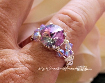 Vitrail Light Swarovski Crystal Hand Crafted Wire Wrapped Ring Original Signature Design Fine Jewelry