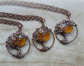 Harvest Moon and Tree of Life Necklace-Golden Yellow-Autumn