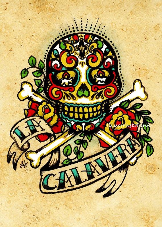 Day of the dead sugar skull tattoo art la calavera loteria for Old school day of the dead tattoo
