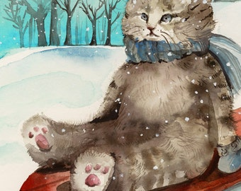 "Cat Christmas cards, cat cards, winter cards - ""Sledding"", holiday cards or all occasion, card set"