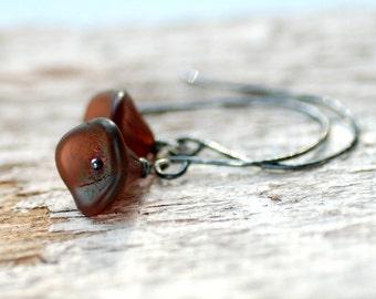 Burgundy Earrings, Merlot, Autumn Wedding, Garden Wedding, Flower Earrings, Bridal Earrings, Botanical Jewelry, Simple Jewelry - Posies