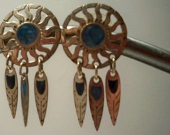 Turquoise Earrings Vintage Dreamcatcher Earrings with Sterling Silver and Turquoise Feather Dangles